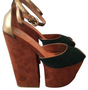 Jeffrey Campbell Chunky Suede Rust/Green/Brass Platforms