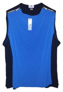 Worthington Work Tank Color-blocking Zippers Style Shirt Top blue