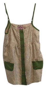 Juicy Couture Gold Silk Pockets Print Top Green and cream