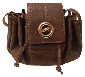 See by Chloé Snake-print Leather Drawstring Mini Shoulder Snake-embossed Leather Cross Body Bag