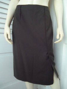Magaschoni Straight Lightweight Wool Fitted Front Slit Lined Skirt Dark Green