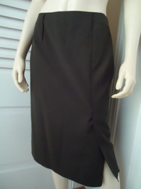 Magaschoni Straight Lightweight Wool Fitted Front Slit Lined Skirt Dark Green Image 1