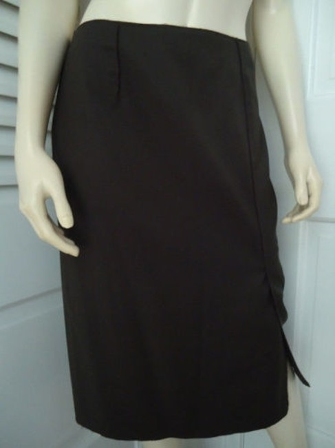 Magaschoni Straight Lightweight Wool Fitted Front Slit Lined Skirt Dark Green Image 2