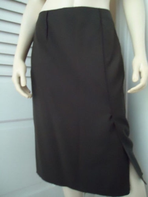 Magaschoni Straight Lightweight Wool Fitted Front Slit Lined Skirt Dark Green Image 3