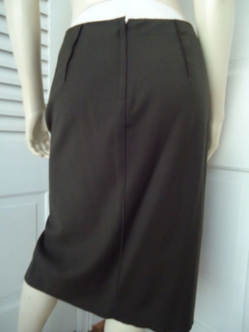 Magaschoni Straight Lightweight Wool Fitted Front Slit Lined Skirt Dark Green Image 4