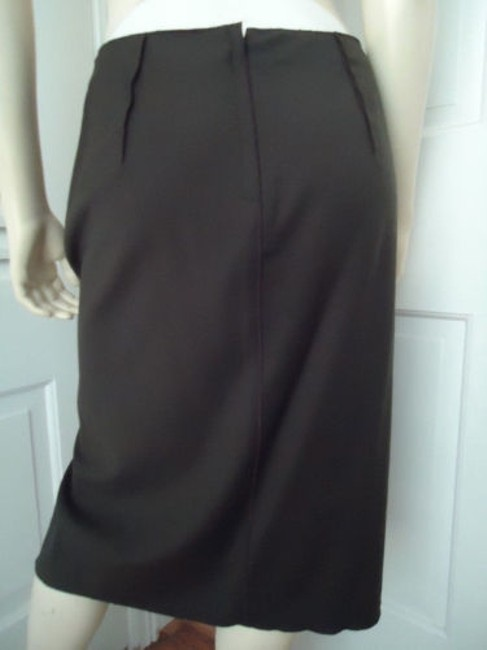 Magaschoni Straight Lightweight Wool Fitted Front Slit Lined Skirt Dark Green Image 5