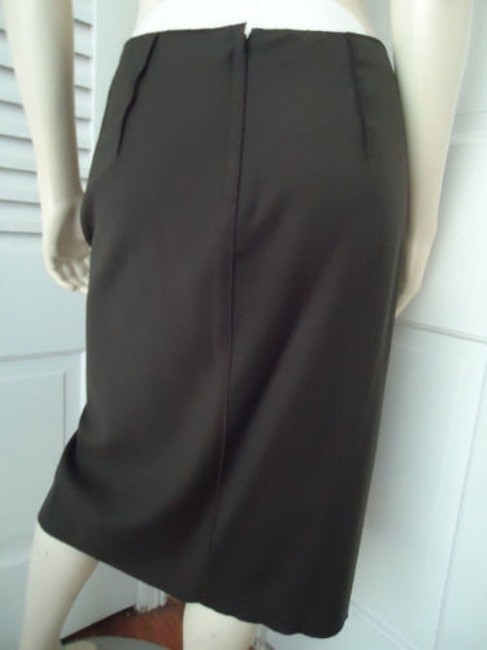 Magaschoni Straight Lightweight Wool Fitted Front Slit Lined Skirt Dark Green Image 7