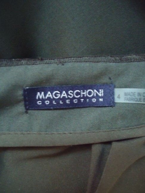 Magaschoni Straight Lightweight Wool Fitted Front Slit Lined Skirt Dark Green Image 8