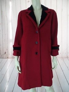 Dior Christian Coat Wool 34 Sleeve Button Front Neck Red with black velvet contrast Jacket