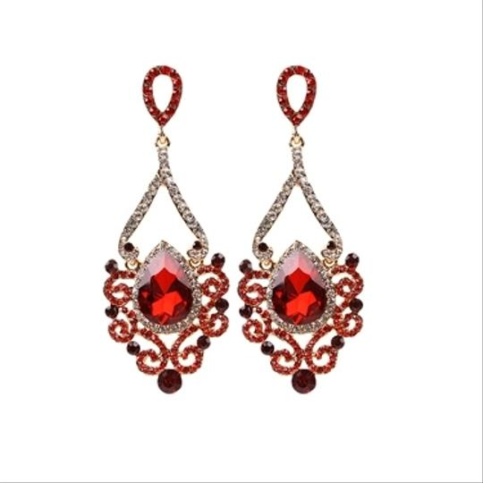 Hollywood Glam Crystal Scrolls Earrings In Silver Gold Ruby Light Colorado