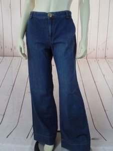 Banana Republic Trouser Blue Cotton Denim Button Zip Front Chic Trouser/Wide Leg Jeans