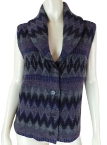 Ralph Lauren Vest Lambswool Tribal Shawl Collar Knit Chic Sweater
