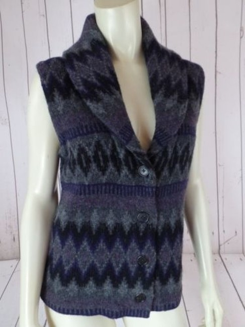 Ralph Lauren Vest Lambswool Tribal Shawl Collar Knit Chic Sweater Image 2
