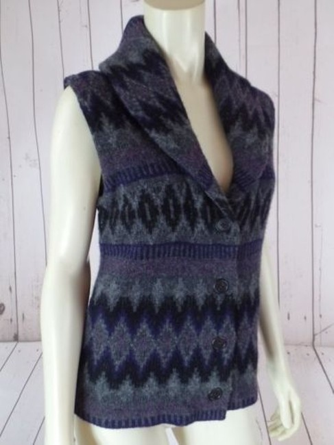 Ralph Lauren Vest Lambswool Tribal Shawl Collar Knit Chic Sweater Image 4