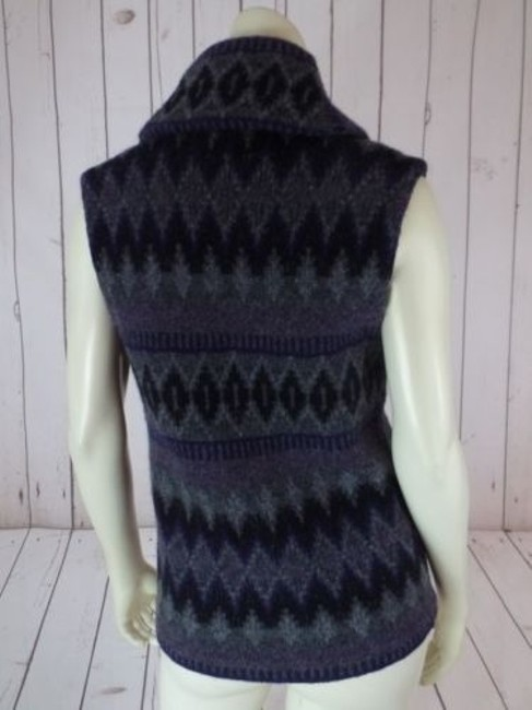 Ralph Lauren Vest Lambswool Tribal Shawl Collar Knit Chic Sweater Image 6