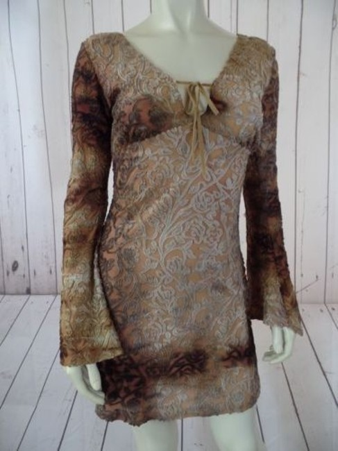 Item - Top Or Mini Dress Poly Stretch Blend Pullover See Thru Floral Hippie Hot