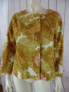 Talbots Talbots Petites Blazer 10p Gold Floral Textured Cotton Hidden Button Front Retro