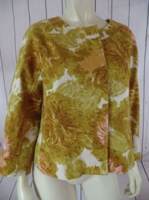 Talbots Talbots Petites Blazer 10p Gold Floral Cotton Hidden Button Retro Image 1