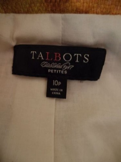 Talbots Talbots Petites Blazer 10p Gold Floral Cotton Hidden Button Retro Image 10