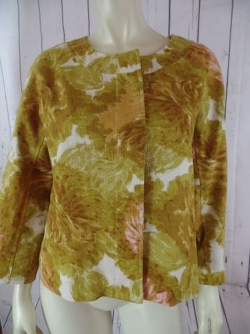 Talbots Talbots Petites Blazer 10p Gold Floral Cotton Hidden Button Retro Image 2