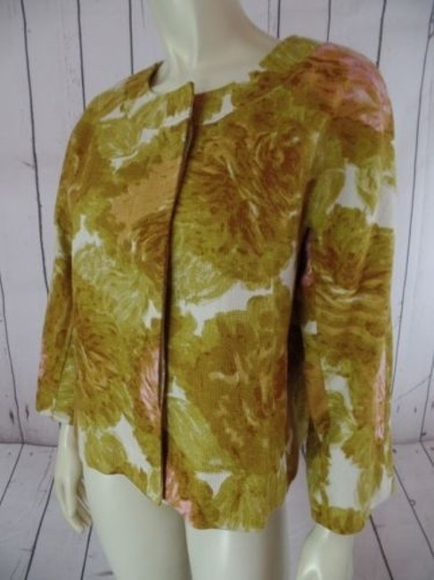 Talbots Talbots Petites Blazer 10p Gold Floral Cotton Hidden Button Retro Image 3