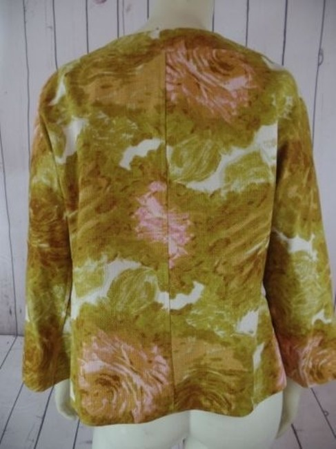 Talbots Talbots Petites Blazer 10p Gold Floral Cotton Hidden Button Retro Image 5