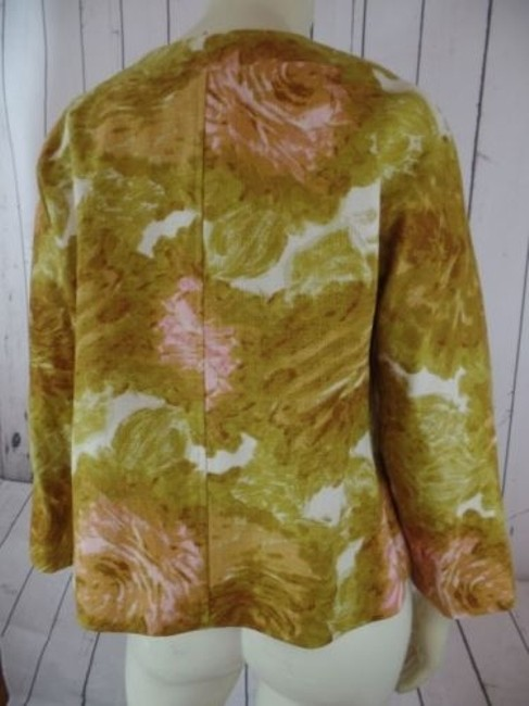 Talbots Talbots Petites Blazer 10p Gold Floral Cotton Hidden Button Retro Image 6