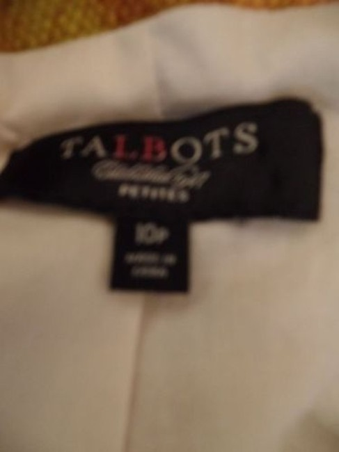 Talbots Talbots Petites Blazer 10p Gold Floral Cotton Hidden Button Retro Image 9