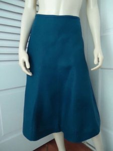 Talbots Linen Gored Panel Flared No Waistband Lined Classy Skirt Royal Blue