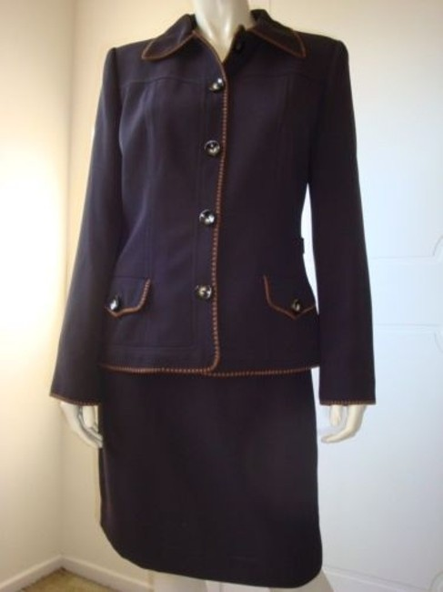 Other Bergamo York Straight Skirt Suit Blazer Lined Contrast Stitch Ally Mcbeal Image 0