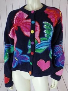 Lilly Pulitzer Cotton Button Front Butterfly Heart Unique Vintage Sweater