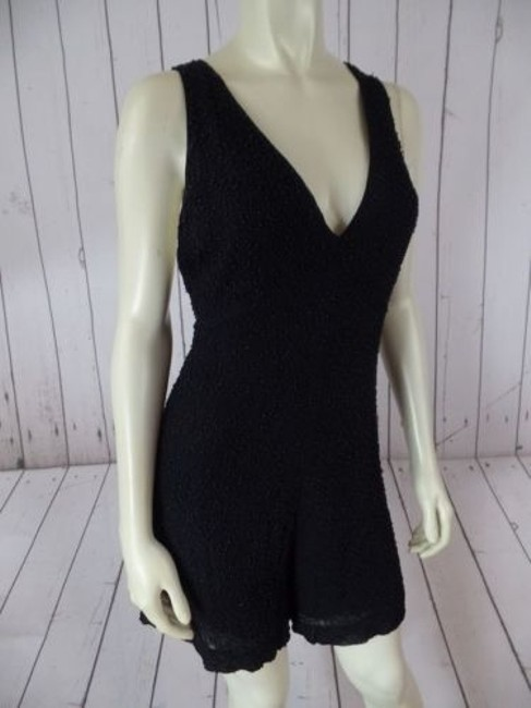 French Connection Beaded Onesie Shorts Outfit Viscose Rayon Sexy Dress Image 1