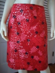 Other D Studio Boutique Stretch Cotton Sequin Straight Lined Red Hot Skirt Reds