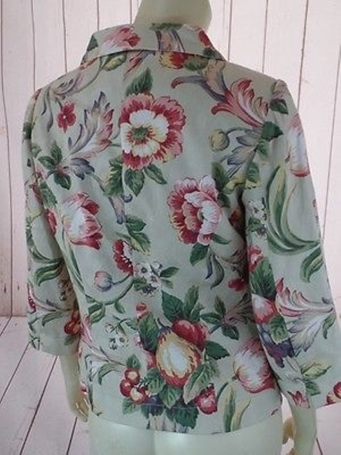 Arden B. Blazer Cotton Floral Button Front 34 Sleeves Retro Chic Multicolored Jacket Image 8