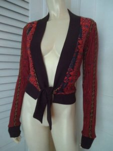 Zara Wrap From Italy Boho Metallic Gold Accent Geometric Knit Chic Sweater