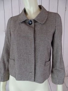 Banana Republic Banana Republic Blazer Black Brown White Cotton Wool Nylon Shorty Crop Retro
