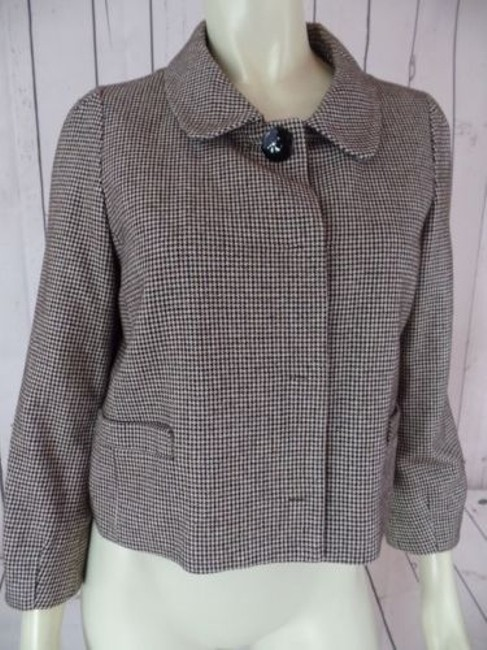 Banana Republic Banana Republic Blazer Black Brown White Cotton Wool Nylon Shorty Crop Retro Image 1