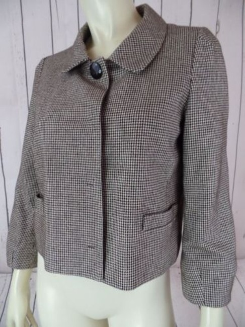 Banana Republic Banana Republic Blazer Black Brown White Cotton Wool Nylon Shorty Crop Retro Image 3