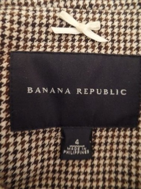 Banana Republic Banana Republic Blazer Black Brown White Cotton Wool Nylon Shorty Crop Retro Image 8