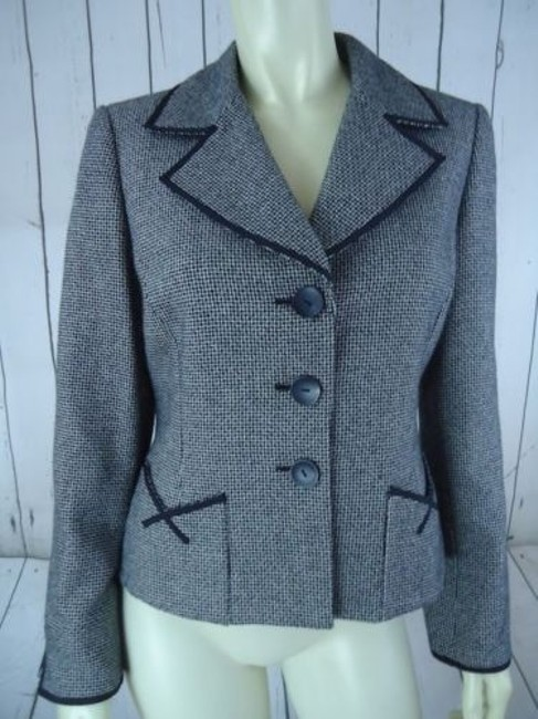Other Tahari Petite Blazer 6p Black White Tweed Wool Poly Stretch Blend Contrast Edges Image 1