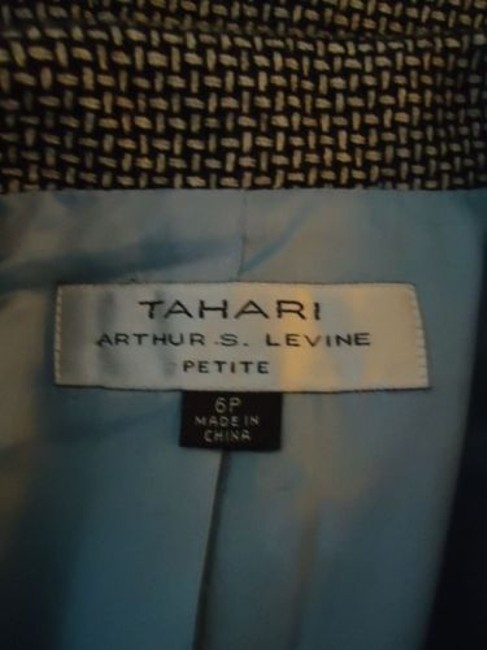 Other Tahari Petite Blazer 6p Black White Tweed Wool Poly Stretch Blend Contrast Edges Image 10