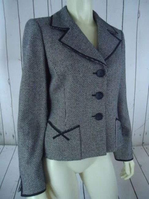 Other Tahari Petite Blazer 6p Black White Tweed Wool Poly Stretch Blend Contrast Edges Image 2