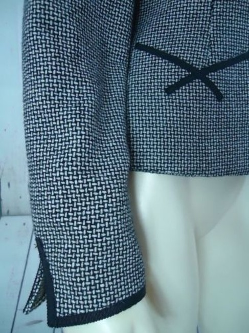 Other Tahari Petite Blazer 6p Black White Tweed Wool Poly Stretch Blend Contrast Edges Image 3