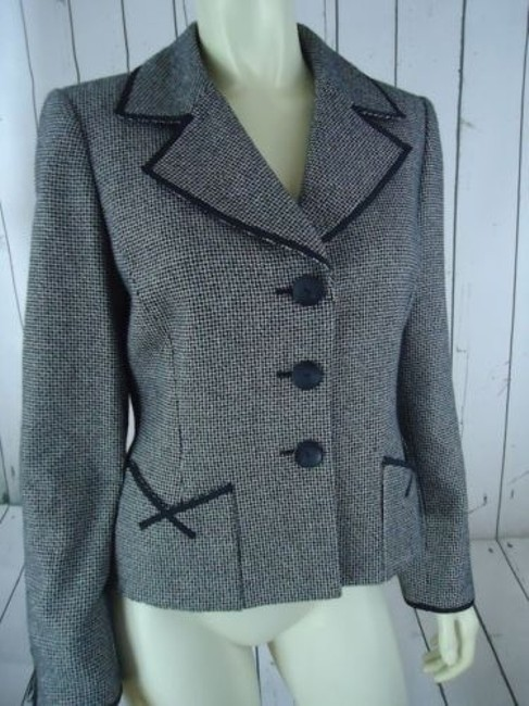 Other Tahari Petite Blazer 6p Black White Tweed Wool Poly Stretch Blend Contrast Edges Image 4