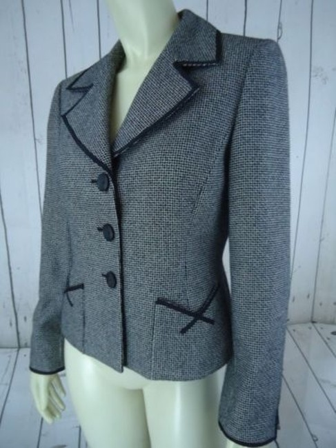 Other Tahari Petite Blazer 6p Black White Tweed Wool Poly Stretch Blend Contrast Edges Image 5