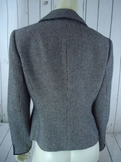 Other Tahari Petite Blazer 6p Black White Tweed Wool Poly Stretch Blend Contrast Edges Image 6