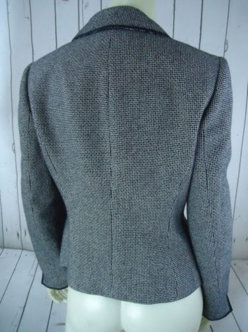 Other Tahari Petite Blazer 6p Black White Tweed Wool Poly Stretch Blend Contrast Edges Image 8
