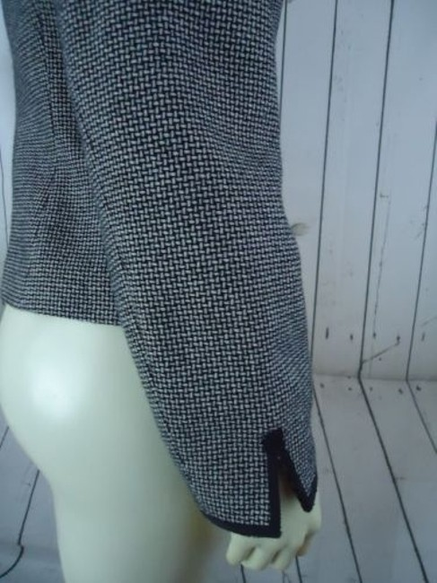 Other Tahari Petite Blazer 6p Black White Tweed Wool Poly Stretch Blend Contrast Edges Image 9