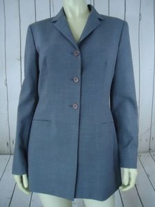 Tahari Tahari Blazer Gray Heather Poly Wool Blend Lightweight Buttoned Lined Classy
