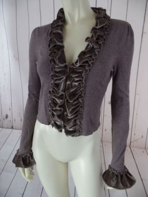 Preload https://img-static.tradesy.com/item/14341426/inc-sweater-top-brown-taupe-heather-rayon-nylon-bolero-shorty-ruffle-chic-0-0-650-650.jpg